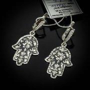 Кубачинские серебряные серьги ручной работы с чернением арт.5534