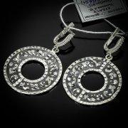 Кубачинские серебряные серьги ручной работы с чернением арт.5536