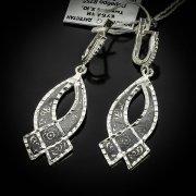Кубачинские серебряные серьги ручной работы с чернением арт.5539