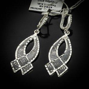 Кубачинские серебряные серьги ручной работы с чернением арт.5539 - фото 1