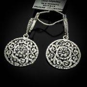 Кубачинские серебряные серьги ручной работы с алмазной гранью арт.5540