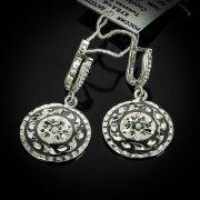 Кубачинские серебряные серьги ручной работы с чернением арт.5546