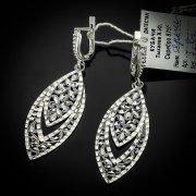 Кубачинские серебряные серьги ручной работы с алмазной гранью арт.5555