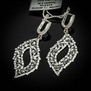 Кубачинские серебряные серьги ручной работы с алмазной гранью арт.5556