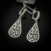 Кубачинские серебряные серьги ручной работы с алмазной гранью арт.5557
