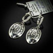 Кубачинские серебряные серьги ручной работы с чернением арт.5558
