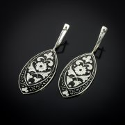 Кубачинские серебряные серьги ручной работы арт.5625