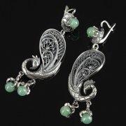 Кубачинские серебряные серьги ручной работы (камень - бирюза) арт.8759