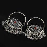 Кубачинские серебряные серьги ручной работы (камень - коралл) арт.8760
