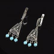 Кубачинские серебряные серьги ручной работы (камень - бирюза) арт.8762