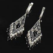 Кубачинские серебряные серьги ручной работы с чернением (камень - агат) арт.8771