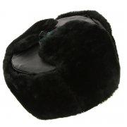 Мужская шапка-ушанка из искусственной овчины ручной работы арт.7258