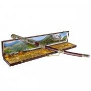 Кубачинский подарочный набор в футляре (шашка с серебряными вставками и 2 бычьих рога) арт.6830