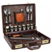Элитный шашлычный набор в кожаном кейсе арт.5950