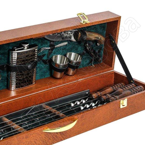 Кизлярский шашлычный набор в подарочном кейсе большой №3 (коричневый)