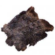 Натуральная козья шкура (цвет - коричнево-бурый, длинный ворс, ручная выделка) арт.6051