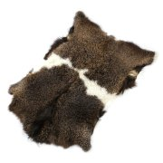 Натуральная козья шкура (цвет - бурый, белый, длинный ворс, ручная выделка) арт.6157
