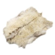 Натуральная козья шкура (цвет - бело-бежевый, длинный ворс, ручная выделка) арт.6160