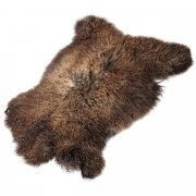 Натуральная козья шкура (цвет - коричнево-бурый, длинный ворс, ручная выделка) арт.5018
