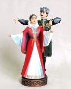 """Подарочная статуэтка ручной работы """"Джигит и горянка в танце"""" №2 обожженная глина"""