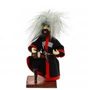 """Сувенирная кукла-композиция на деревянной подставке """"Джигит с барабаном"""" арт.6651"""