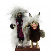 """Сувенирная кукла-композиция на деревянной подставке """"Джигит с ослом"""" арт.6659"""