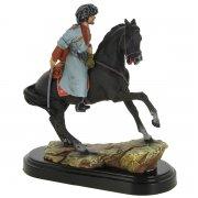 """Подарочная статуэтка ручной работы """"Горец на коне"""" (обожженная глина) арт.8395"""
