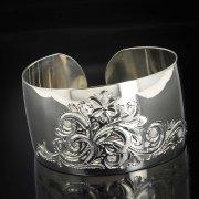 Серебряный кубачинский браслет с гравировкой арт.4037