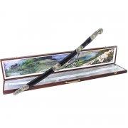 Кубачинский подарочный набор в футляре (утопленная шашка с серебряными вставками) арт.4148