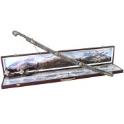Кубачинский подарочный набор №33: мельхиоровая шашка с серебряными вставками и 2 рога в футляре