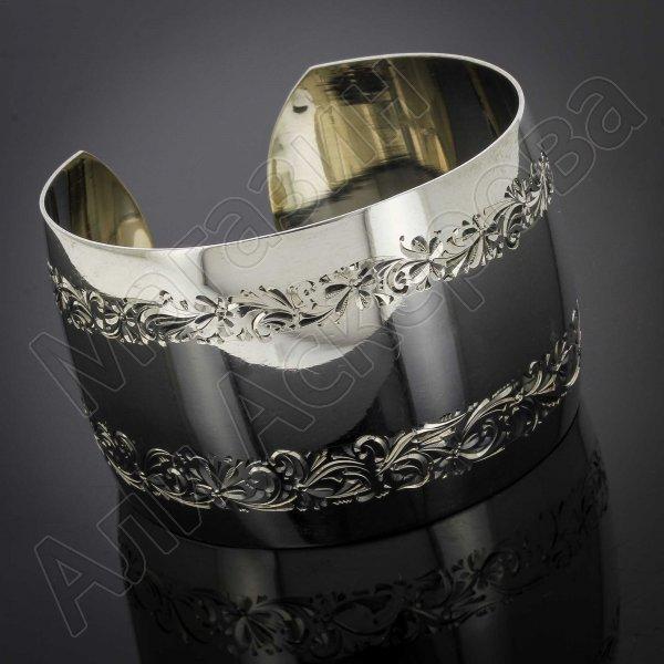 Серебряный кубачинский браслет с гравировкой арт.2891