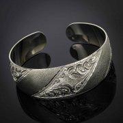 Серебряный кубачинский браслет с гравировкой арт.2899