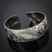 Серебряный кубачинский браслет с гравировкой арт.2925