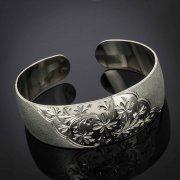 Серебряный кубачинский браслет с гравировкой арт.2930