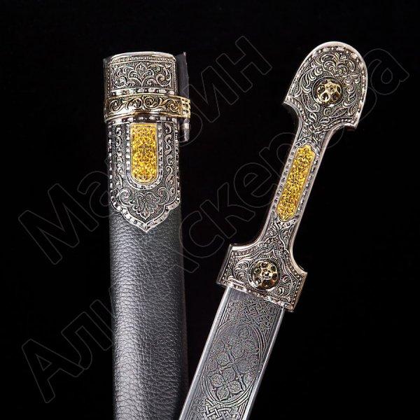 Кубачинский подарочный набор в футляре (кинжал с серебряными вставками) арт.2944