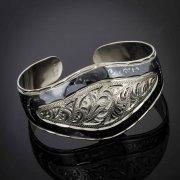 Серебряный кубачинский браслет с чернением арт.2947
