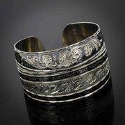 Серебряный кубачинский браслет комбинированный №32