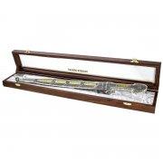 Кубачинский подарочный набор №15: кавказский кинжал с позолоченными вставками в футляре