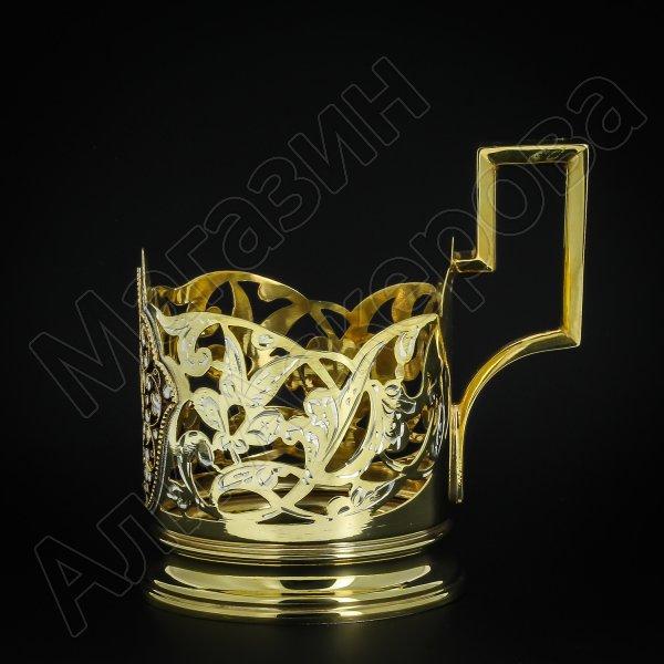Серебряный подстаканник Кубачи с эмалью (стакан и коробка - в подарок) арт.3564