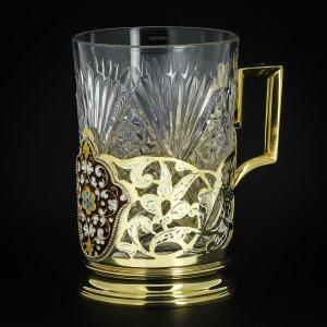 Серебряный подстаканник Кубачи с эмалью (стакан и коробка - в подарок) арт.3564 - фото 1