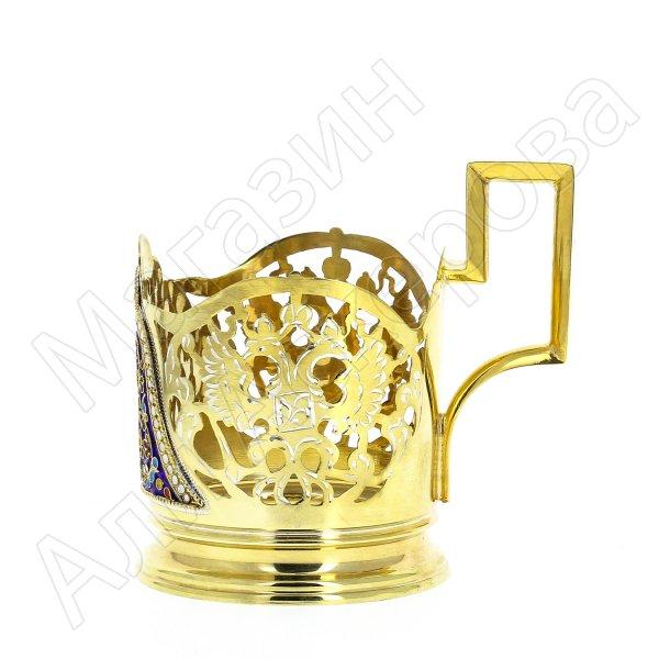 Серебряный подстаканник Кубачи с эмалью (стакан и коробка - в подарок) арт.3566