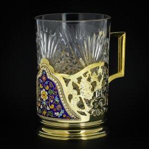 Серебряный подстаканник Кубачи с эмалью (стакан и коробка - в подарок) арт.3566 - фото 1