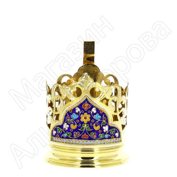 Серебряный подстаканник Кубачи с эмалью (стакан и коробка - в подарок) арт.3567