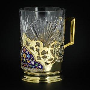 Серебряный подстаканник Кубачи с эмалью (стакан и коробка - в подарок) арт.3567 - фото 1