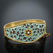 Серебряный кубачинский браслет с эмалью №1