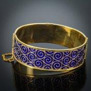 Серебряный кубачинский браслет с эмалью №6