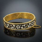 Серебряный кубачинский браслет с эмалью №7