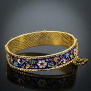 Серебряный кубачинский браслет с эмалью №9