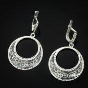 Кубачинские серебряные серьги ручной работы с чернением арт.3643
