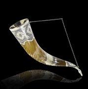Элитный серебряный рог Кубачи с пиалой №7 (подарочный, питьевой)